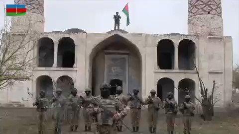 Azərbaycan Ordusu #Ağdam şəhərinə bayrağımızı sancdı. #KarabakhisAzerbaijan #Aghdam