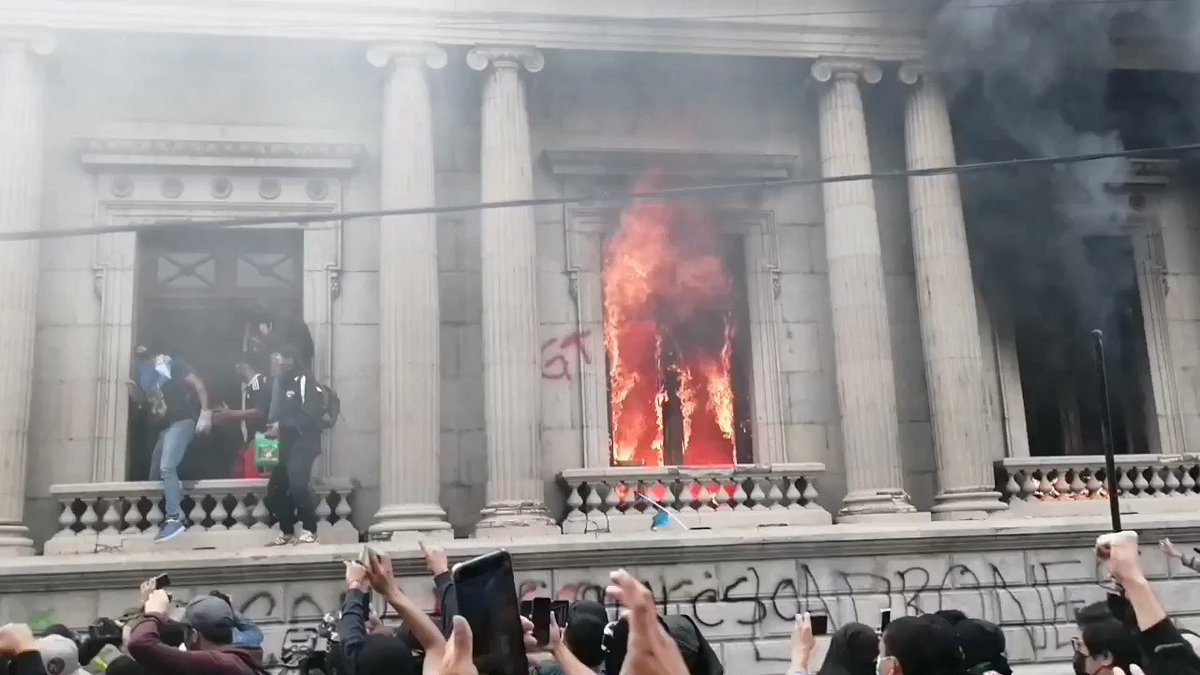Guatemalan protesters have started burning down their Congress.
