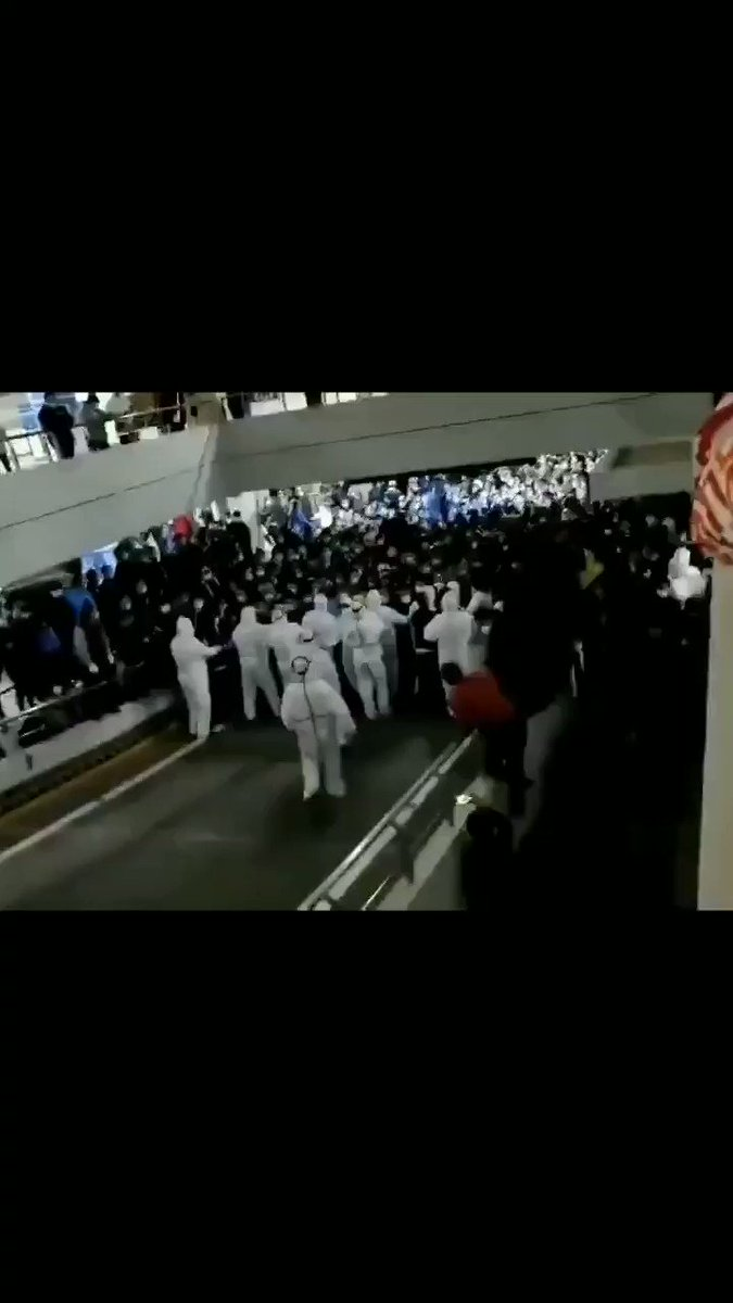 Some workers at Shanghai Pudong International Airport tested positive for the coronavirus, so they tried to force thousands of people into the parking garage for mandatory testing.  The people weren't happy about it. Many escaped.  November 22, 2020