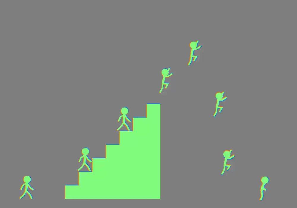 動いて……ない!?棒人間たちが進んでいるように見える錯視GIF「スーパー錯視ブラザーズ」がすごい  @itm_nlabより