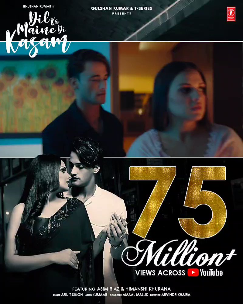 Sworn to become the most favourite love song of the season, #DilKoMaineDiKasam crosses 75 million+ views across YouTube.     #BhushanKumar @imrealasim @realhimanshi @AmaalMallik @kumaarofficial #ArijitSingh @arvindrkhaira @EricnPillai @souravkeys