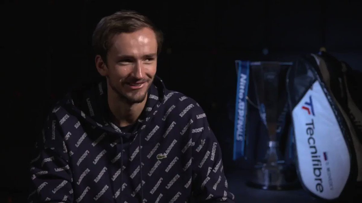 4️⃣ years ago, @DaniilMedwed came to London to collect the $50,000 promised to the winner of the Young Gun Contest.   Today, he's on top of the world after his first #NittoATPFinals title 👏  🎙💬 « So, how does it feel to be the new Master? » #FightSmart https://t.co/7DlCGvVVBF