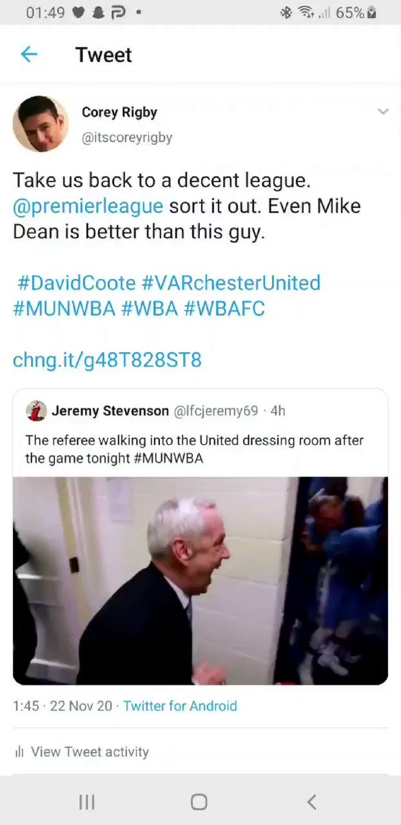 @premierleague Bit difficult for @WBA to take the deserved 3 points from #VARchesterUnited when they're playing against one of the big teams backed by the corrupt PL, dodgy VAR and bent refs. #MUNWBA #DavidCoote #WBA #WBAFC