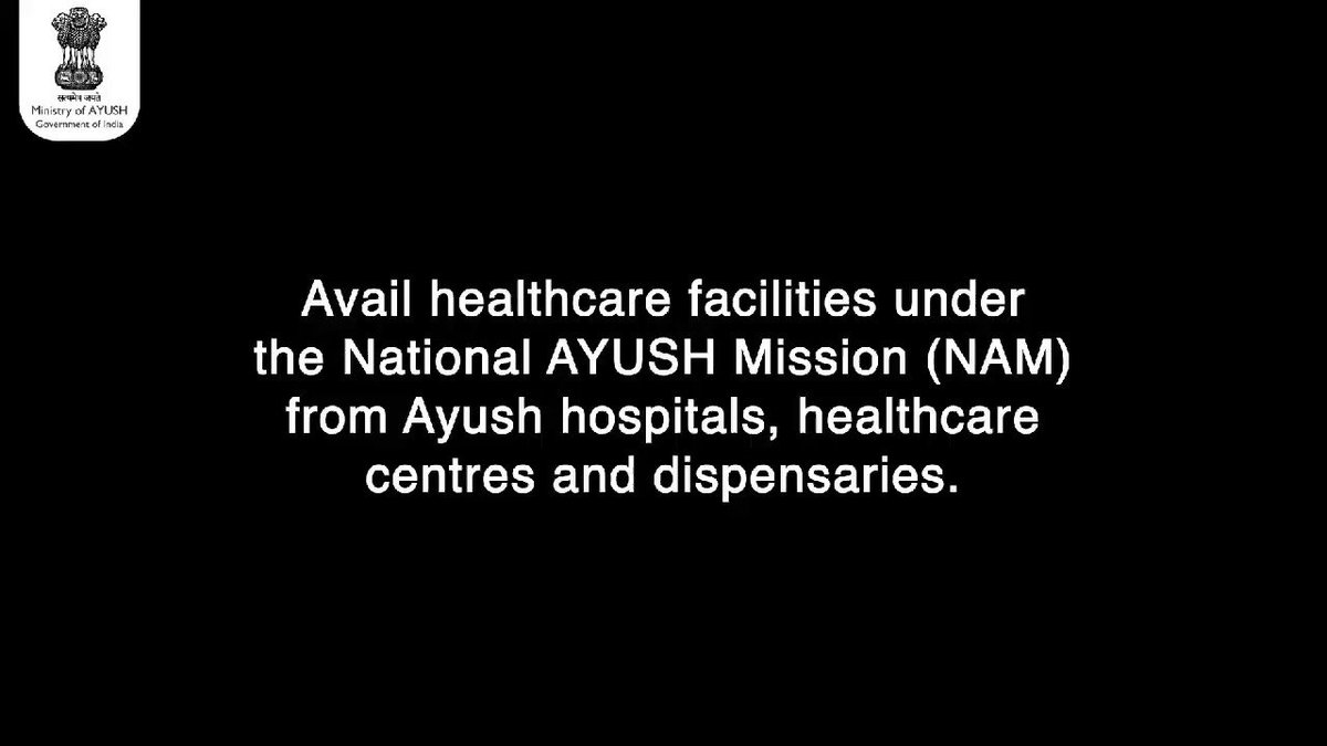 It's time to move towards a healthy life! Government of India under National AYUSH Mission (NAM), supports state governments in their effort to provide #Ayushmedicines and treatments to general public.  Upgrading of Ayush healthcare facilities, availability of free consultation
