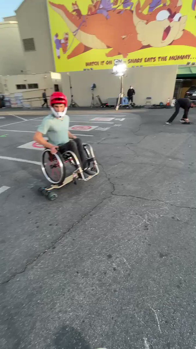 Had the privilege of meeting [and skating with] @evan_lala on the set of @TheEllenShow. In true DIY/skater fashion, he created a custom motorized skateboard to ride in his wheelchair. He towed me until I got speed wobbles then pulled away like a veteran racer. Episode airs today.