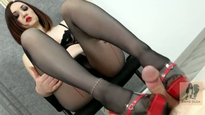 #New #PANTYHOSESTOCKINGS #Clip Available! Cum on Shoes: Shoejob in Red and Clear Mules with Seamed Pantyhose feat Dame Olga (HD, WMV) clips4sale.com/98797/24063149 #Clips4Sale