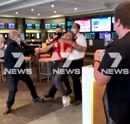 Melbourne teenager is choked unconscious and thrown to the floor like a rag doll by hotel security, for not wearing a mask.   #TheNewNormal   https://t.co/cZFdDmUvhG