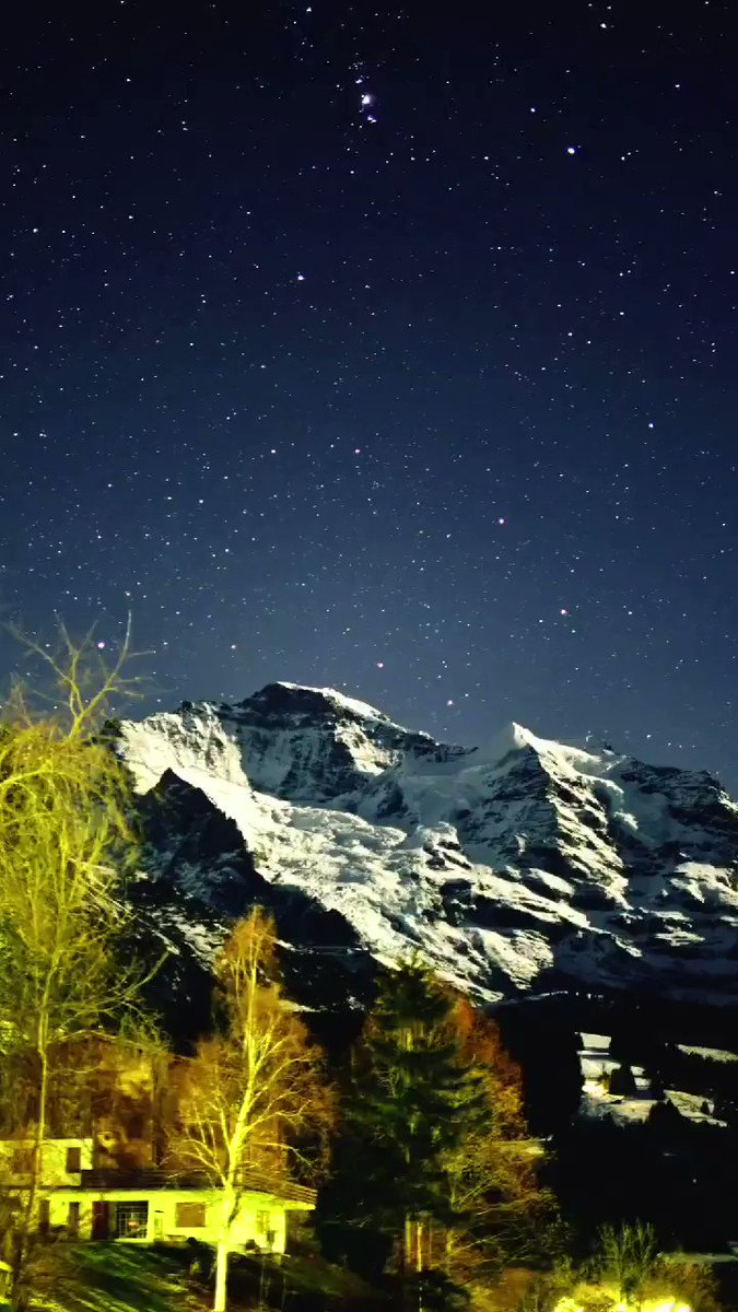 Good morning everyone. Time to get up. But let's still dream from last night. Here a video of Mt Jungfrau with thousands of stars passing by. Have a wonderful day. #wengen #inlovewithswitzerland #Switzerland #jungfrauregion @JungfrauRegion @MySwitzerland_d