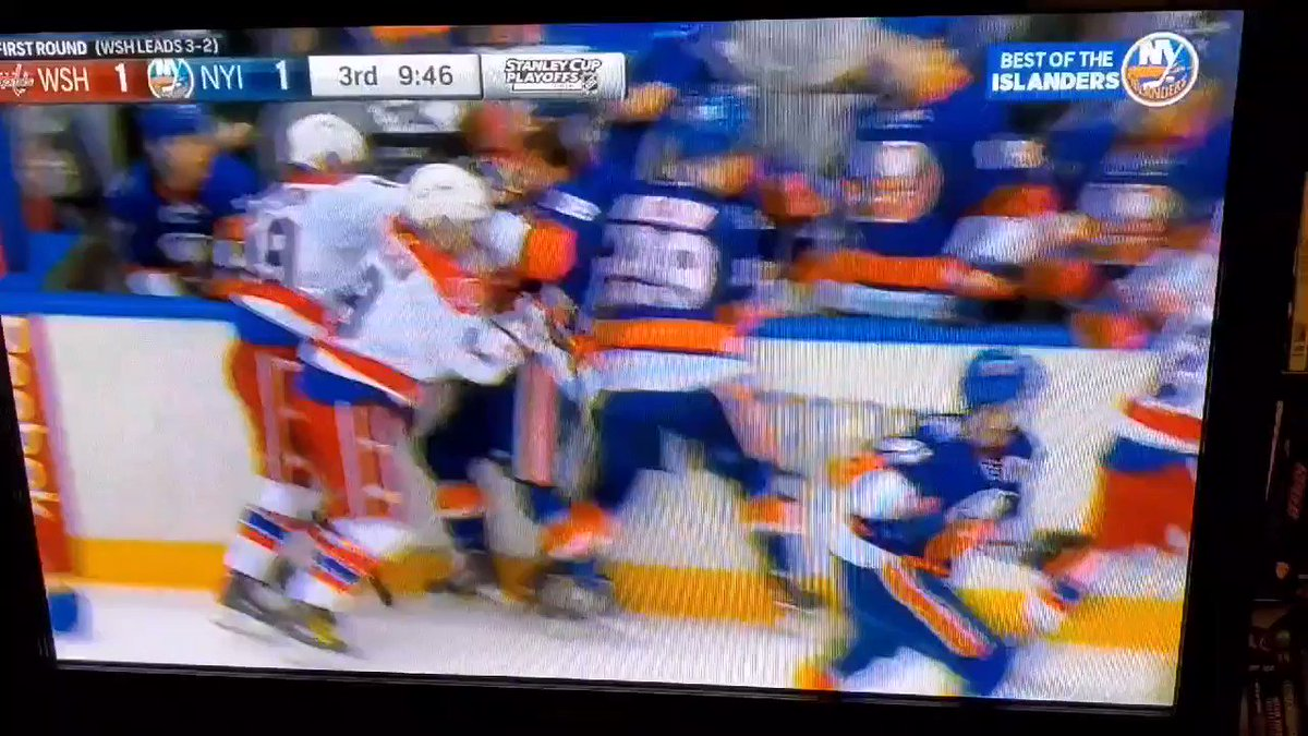 @IslesBlog Boychuk SLAM!!!  My absolute favorite @joboych highlight of his time with the #Isles.  All the best Johnny!