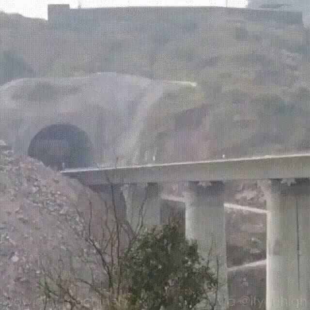 Building a railway bridge in China..
