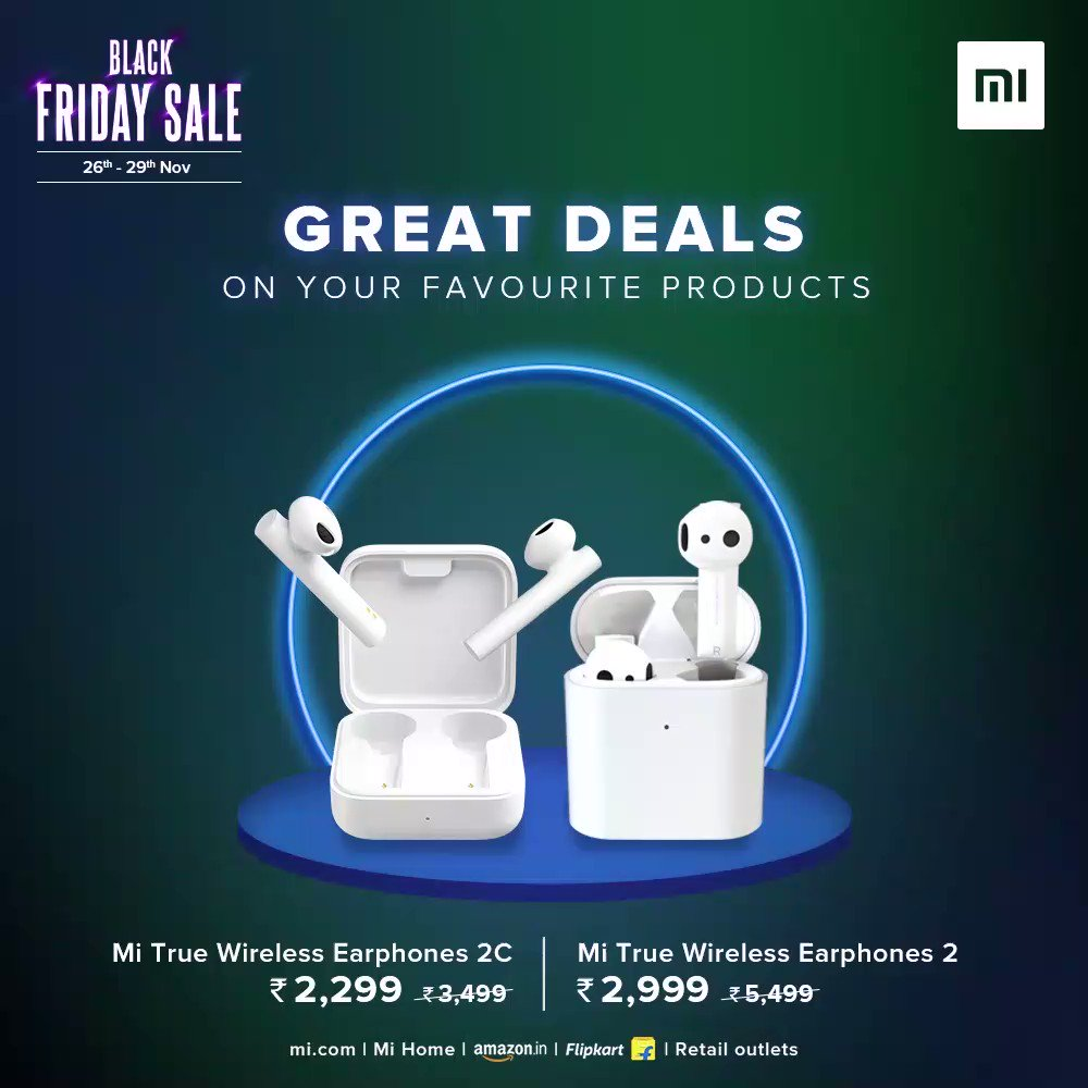 📢 The sale is Live! #BlackFridaySale is here  Go on a shopping spree!🤩  Rush to , Mi Home, @Flipkart, @amazonIN, and all our Retail Stores to avail the best offers on #Mi products.   Buy now: