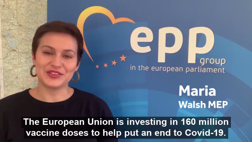 The European Union is investing in 160 million vaccine doses to help put an end to #Covid19.  Our MEPs explain more 👇🏻  @MariaWalshEU @FitzgeraldFrncs @DeirdreCluneMEP @SeanKellyMEP @ColmMarkey https://t.co/IK0exXYshT