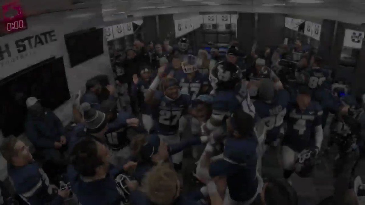 Proud of how this team has battled so many adversities. I've seen a bunch of locker room celebrations and they NEVER get old. Go Aggies! @USUFootball @USU_Equipment @usubeyondfb @USUAthletics @USUStrength @USUrecruiting