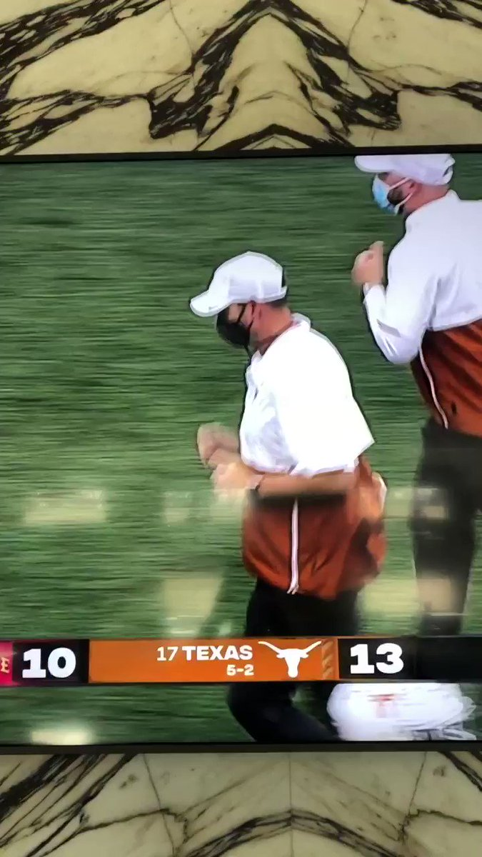 """Was Tom Herman an offensive lineman at some point in his life? He's got the """"jog to the next drill"""" trot down. Perfect technique if he's going from individual to inside drill 😂."""