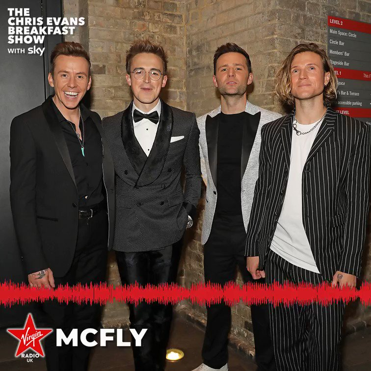 The awesome @mcflymusic are back with their new single Tonight Is The Night from their first album in 10 years Young Dumb Thrills, out now 📀 #ChrisEvansBreakfastShow #YoungDumbThrills
