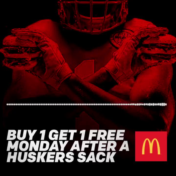 Celebrate this sack like the #Huskers by going to @McDonalds on Monday!  You've got BOGO Big Macs! 🍔