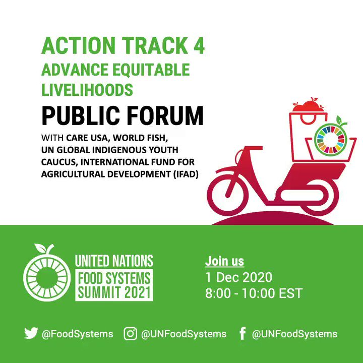 Not long to go! Make sure to catch the @FoodSystems Summit Action Track 4 Public Forum, hosted by @CARE @WorldFishCenter @UNGIYC & @IFAD!  📅 Dec 1 🕑 8am EST / 2pm CET Register 👉     @GAINalliance @WWF @EATforum @ICCCAD @MichelleNunn