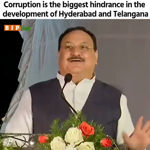 The rampant corruption doesn't let the funds sent by the Centre reach fully to the people of Hyderabad. The cost of Kaleshwaram project jumped from Rs 32,000 crore to Rs 1 lakh crore but is still unfinished. Their hunger for money is insatiable.  - Shri @JPNadda #JPNadda4GHMC