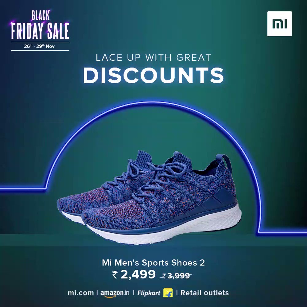 Get running with the one you ❤️ #MiMensSportsShoes2  Choose from black, blue, or grey this #BlackFridaySale.  Get yours at just ₹2,499 on  , @Flipkart, @amazonIN, and Retail Stores. -