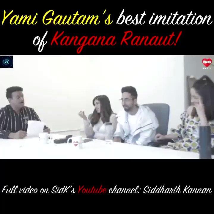 .@yamigautam best imitation of #kanganaranaut!  #HappyBirthdayyamigautam 🤗  Watch the full video on my @youtubeindia channel:   #SidK @bhumipednekar @ayushmannk  #Sidk #SiddharthKannan #YamiGautam