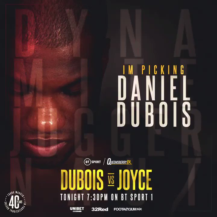 𝙍𝙀𝙏𝙒𝙀𝙀𝙏 if you're picking @DynamiteDubois to announce himself on the world stage tonight and beat @JoeJoyceBoxing 🔥   #DuboisJoyce #AtLast