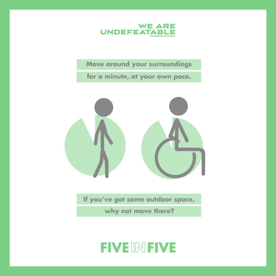 Designed to help you move in a way that works for you, @undefeatable have created a customisable mini work-out - Five in Five.   Simply pick 5 moves and do each for one minute at a time!   https://t.co/ccJTfuIQqv  #WeAreUndefeatable #BetterHealth