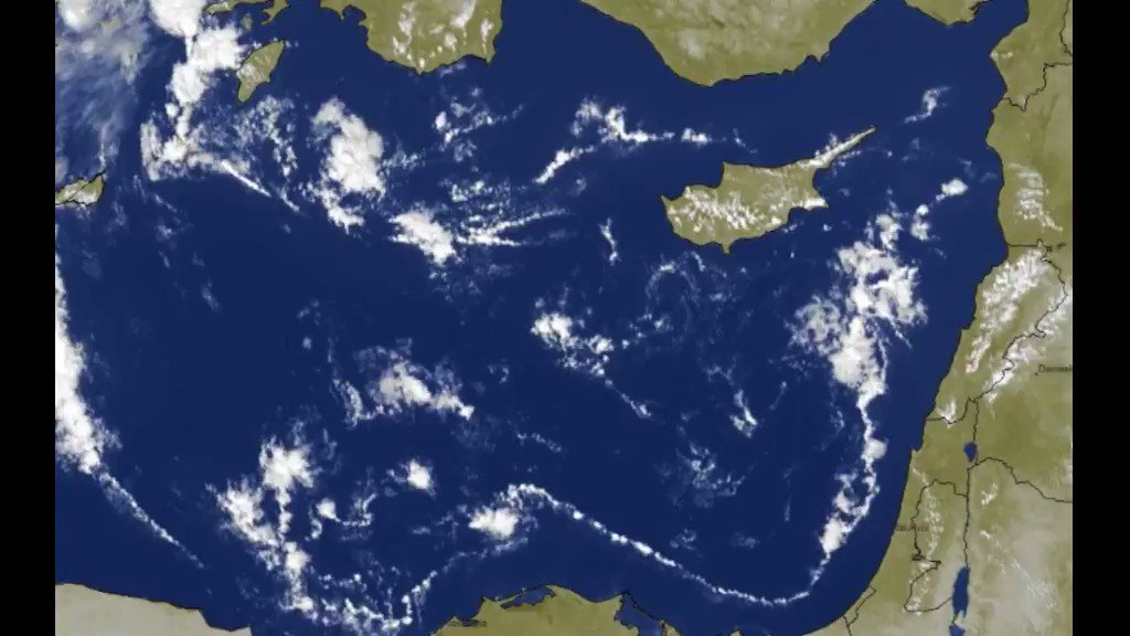 Today 29 November 2020 , over East Mediterranean Sea. These clouds look like as #Actinoform #Clouds. Could they be?