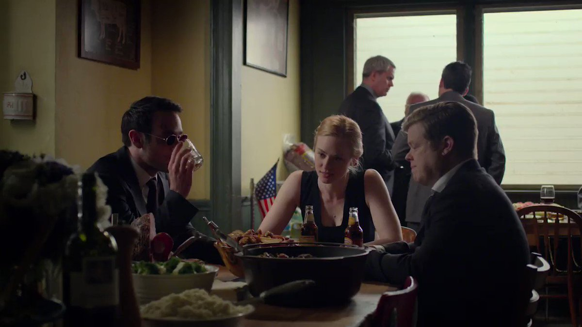 The end of Daredevil s3, but just the beginning for these three! ❤️💙💛  This concludes today's rewatch livetweets but please keep the #SaveDaredevil train going! @Disney @MarvelStudios @Kevfeige need to hear how much you all still love this show and want it back!