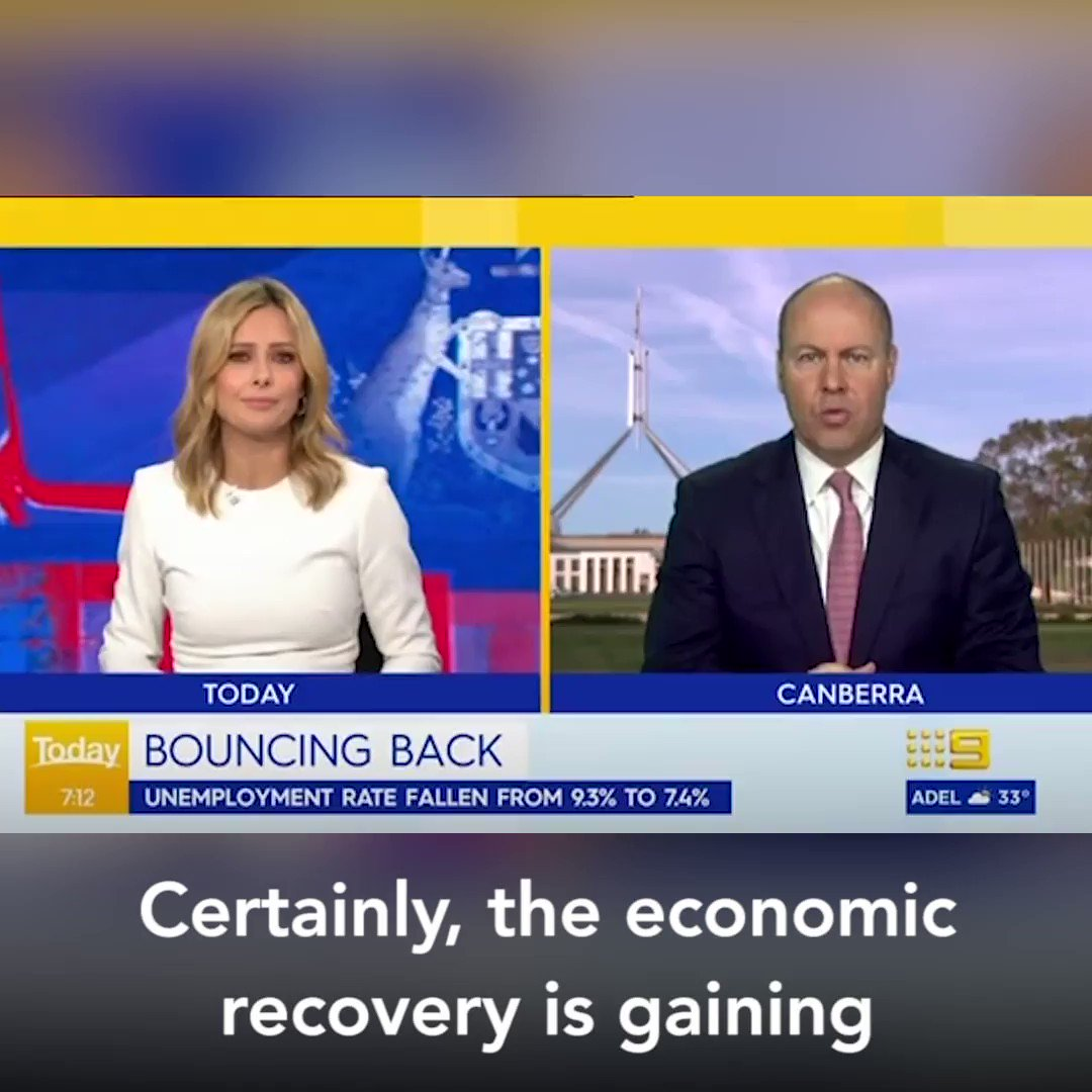 Australia's economic recovery is gaining momentum with ATO data showing 2 million fewer Australian workers & 450,000 fewer businesses on #JobKeeper in Oct, compared to Sept. The road ahead remains long & hard but there is reason for confidence & hope.