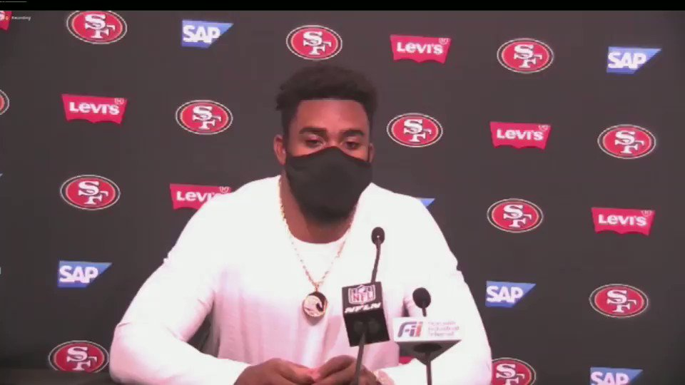 "#49ers Raheem Mostert was very emotional after the game... ""I miss them (my family) so much... and you are fighting for your life... people have to make sacrifices..."" #ABC7Now #FTTB"