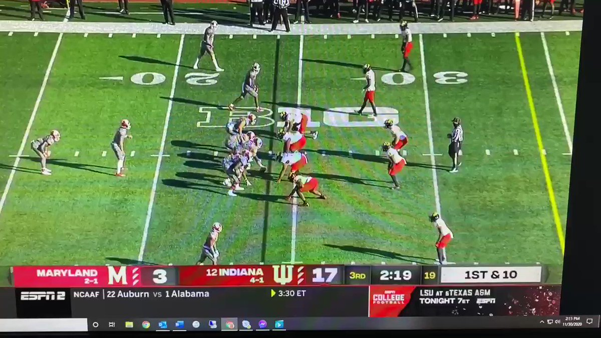 On this pass, Tuttle fully sells the play-action, not shorting the fake. Then, he throws a good ball—not a rainbow that gives MD a chance to cover it, but not a hard fastball. #iufb 2/