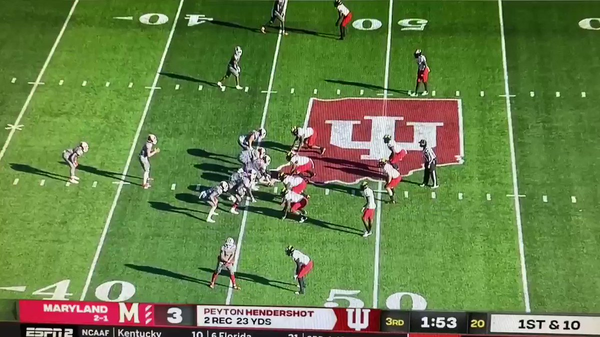On the very next play, Tuttle hands it off to Baldwin, but he continues his role as if he's running play-action. It freezes No. 18 for Maryland and takes him out of the play. Tuttle's details in his first action stood out. #iufb 3/x