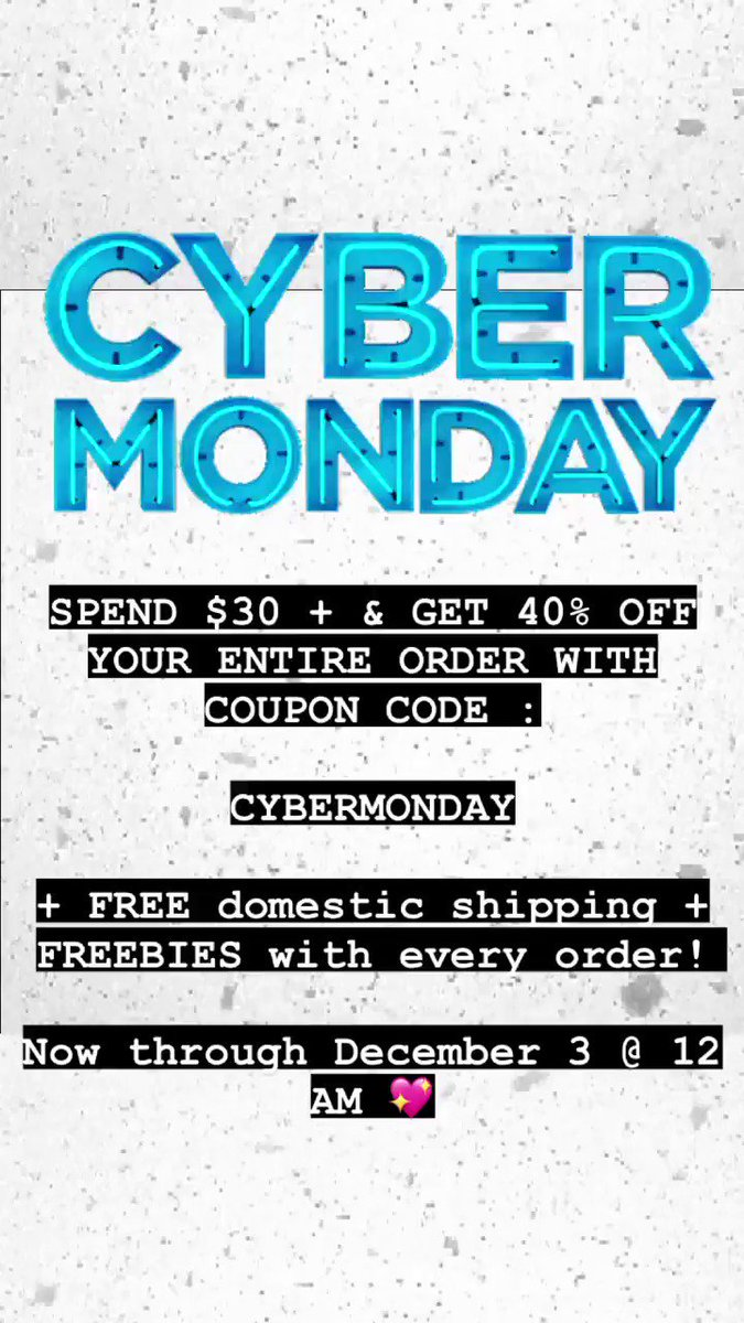 ✨ CYBER MONDAY SALES STARTS NOW! ✨ Spend $30 and get 40% OFF your order with COUPON : CYBERMONDAY 💖 + FREE domestic shipping + FREEBIES with every order. Checkout  & shop small for the holidays! 😊  #cybermonday #cybermondaysale #cybermondaysales