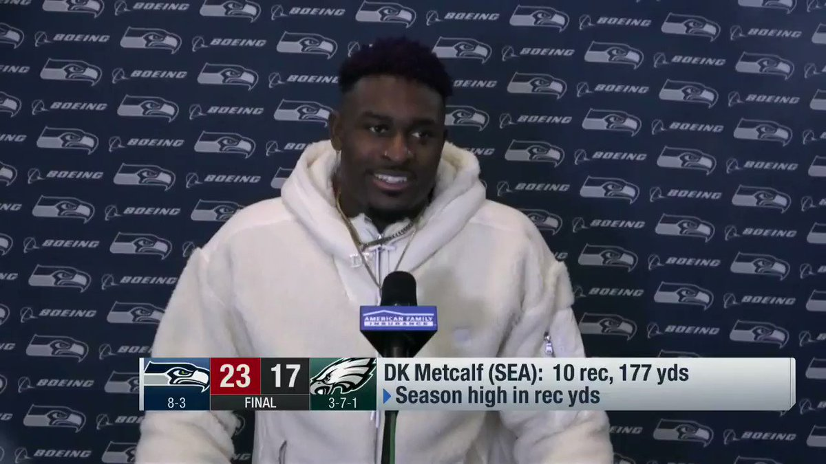 """Eagles defensive coordinator Jim Schwartz told DK Metcalf, """"I was in Detroit with Megatron. You're not there yet.""""   @dkm14 says he played with a chip on his shoulder Monday night after hearing that 😤  (via @NFLTotalAccess)"""