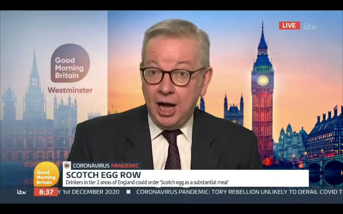 Piers Morgan -  What is a substantial meal?  Michael Gove has no idea & resorts to waffling  Piers Morgan - Once more we have government ministers who are not able to tell us what their own rules are.  #GMB