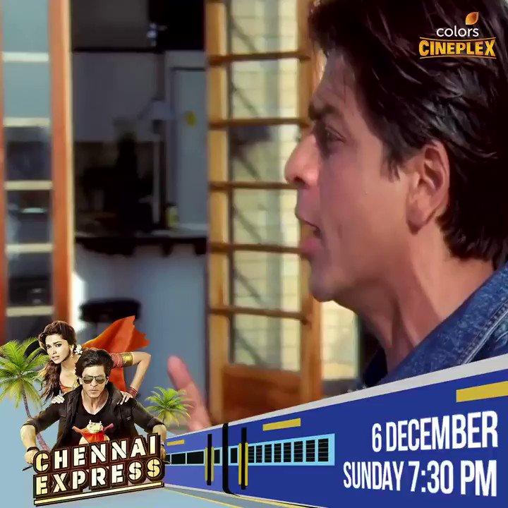 Watch #ChennaiExpress with your favourite @iamsrk and @deepikapadukone, 6 december ko raat 7:30 baje, sirf #ColorsCineplex par.  #FilmeinMUSTHain #7YearsOfChennaiExpress #December2020 #Bollywood #RohitShetty #ShahRukhKhanFans #DeepikaPadukoneFans   @SRKUniverse @SRKAustria