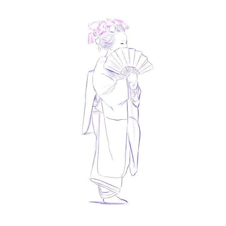 クリスタでアニメ描き遊び3日目着物の袖の「たゆんっ」て感じを頑張って描いてます が やはり動きにメリハリというかタメというか、重さが無いかな?めっちゃシワ等の勉強になってますここからデフォルメか、プロのアニメーターさんは凄いのですね現在69枚(たぶん)#CLIPSTUDIO