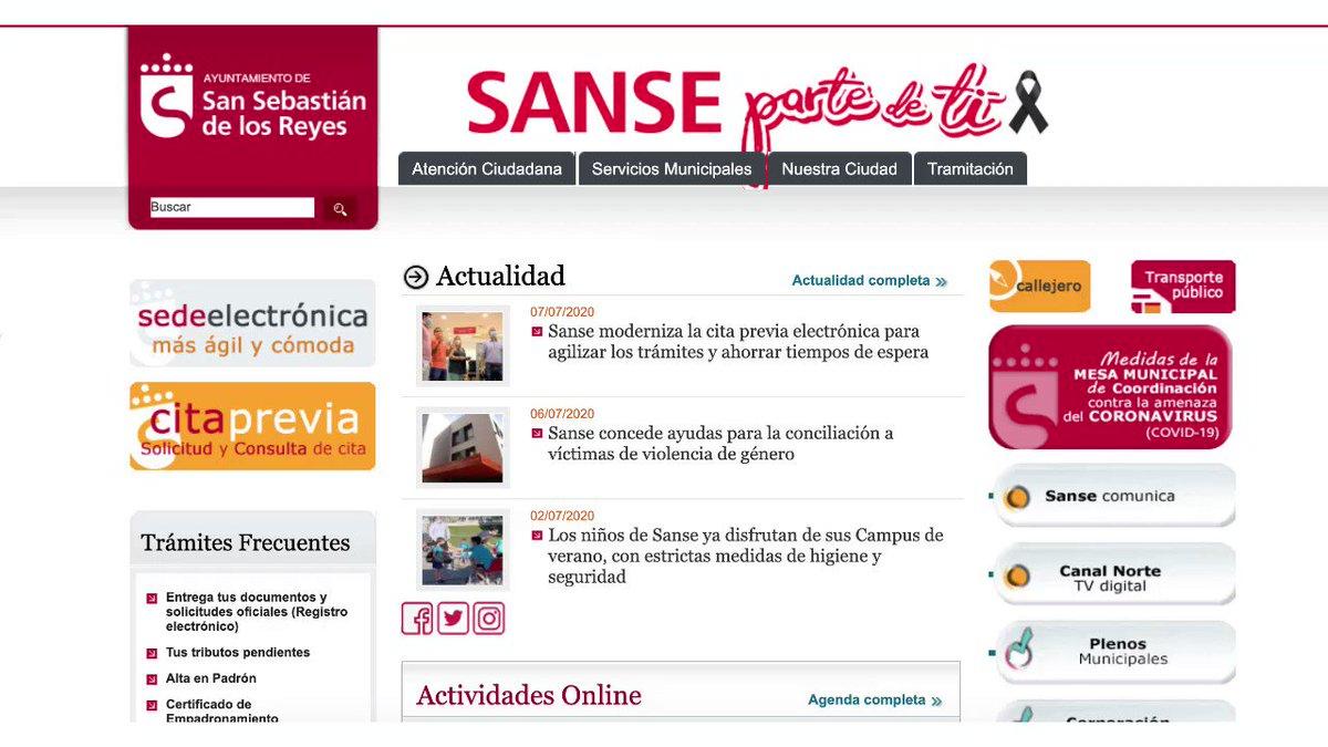💻  Nueva sede electrónica del Ayuntamiento de #SanSe.  Cita previa de forma telemática en la web municipal y agilización de trámites municipales. 👍. ⤵️