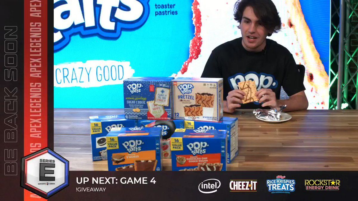 EsportsArena - 🚨SERIES E POP-TARTS WEEK🚨 Get in here now and catch Game 4! You already missed this live 🔥 tasting on the break but you don't want to miss this action coming up 👀 🏆  WATCH   - #SeriesE #TeamPopTarts @PopTartsUS