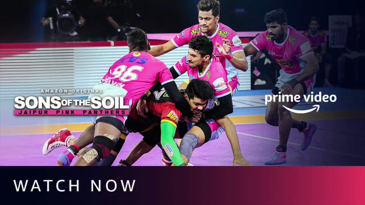 Har chhoti-badi mushkil se lade hain, hum ek team ki tarah aage badhe hai. #SonsOfTheSoil, Watch Now:   @PrimeVideoIN @juniorbachchan @bunty_walia @JaipurPanthers @DeepakHooda5555 @Sandeep_Dhull_4 @nitinrkabaddi