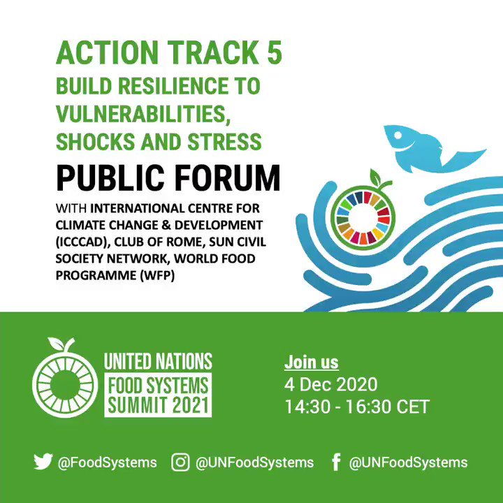 Action Track 5 aims to ensure that #FoodSystems in conflict & disaster areas bring  🍲 Food security 🍅 Nutrition 💼 Equitable livelihoods  JOIN tomorrow's @FoodSystems Summit Action Track 5 Public Forum with @ICCCAD @ClubOfRome @SUNCSN @WFP  🕝 2:30pm CET