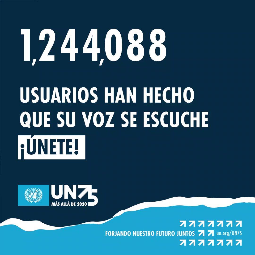 Participa en la conversación más grande del mundo y haz que tu voz se escuche completando la encuesta de 1 minuto #UN75:   El mundo necesita solidaridad, tu opinión cuenta.
