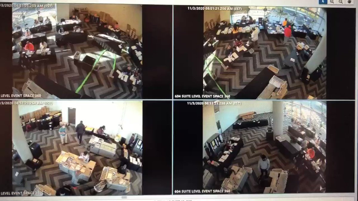 #Breaking:  Surveillance video from @StateFarmArena released for first time at Senate Judiciary Subcommittee hearing allegedly showing people taking boxes of ballots out from under table and counting after hours with no poll watchers.  Live at 4 on @cbs46. #Election2020results