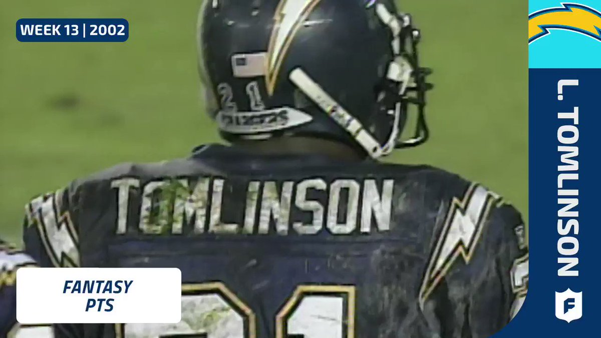 #TBT to Week 13 2002 when @chargers HOF RB LaDainian Tomlinson (@LT_21) put up 56.1 fantasy pts!