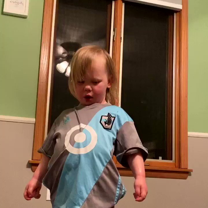 Although she did not get to stay up for the end, Ginny was excited for the @MNUFC victory tonight. #MNUFC #comeonyouloons
