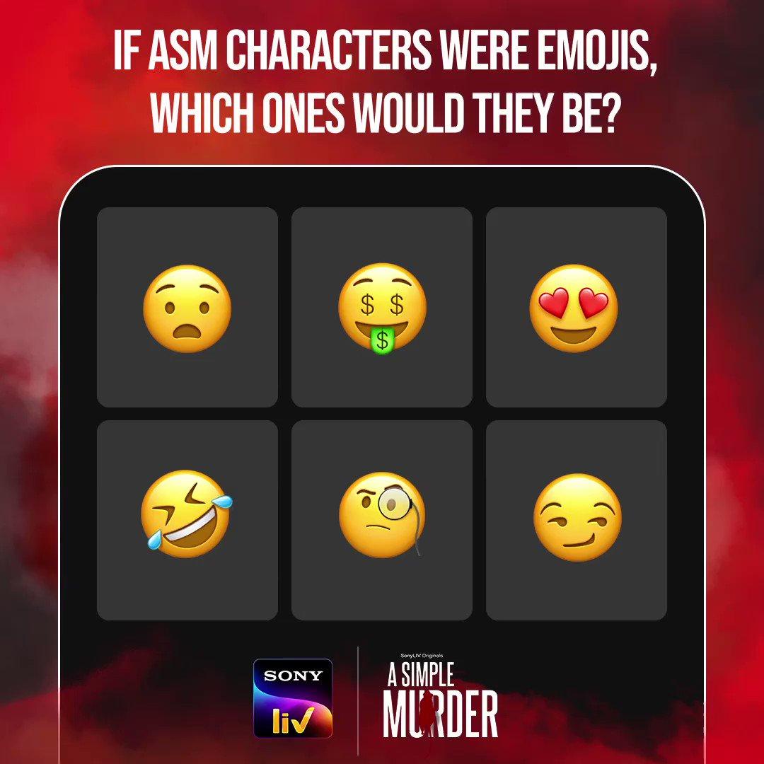 Your favourite 'A Simple Murder' characters as emojis. Do you have any other emojis in mind for them?  Streaming now on #SonyLIV.  @PriyaAnand @Mdzeeshanayyub @sushant_says @YashVidya @amit_sial @pathak_sachin85 @PO10TIAL_ART @PrateekPayodhi @AjayGRai @karshkalemusic @ParaggMehta