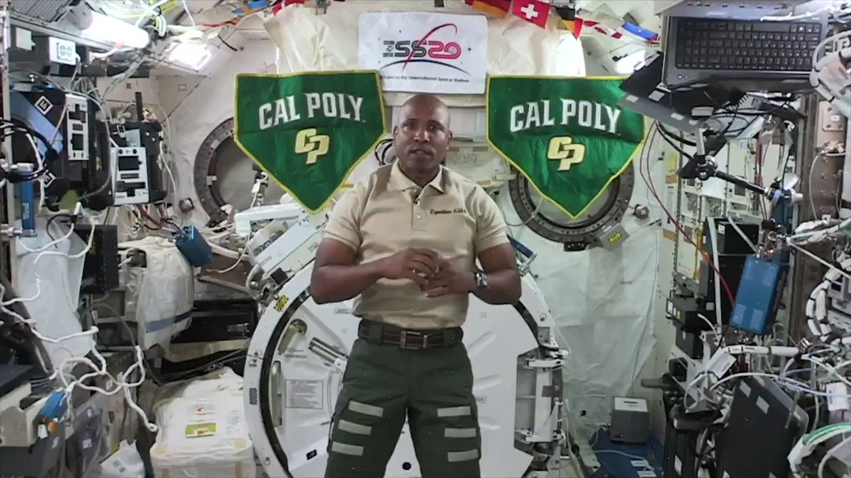 """Keep shining, graduates. From up here, your futures look very bright."" Our commencement keynote was delivered by @NASA astronaut and Cal Poly alumnus @AstroVicGlover, from the @Space_Station orbiting 250 miles above Earth! 🌎   Full video on our Facebook #CalPolyInSpace"