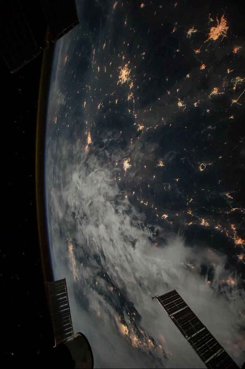 Flying over the Earth at night in the International Space Station, from Shanghai to South Korea.