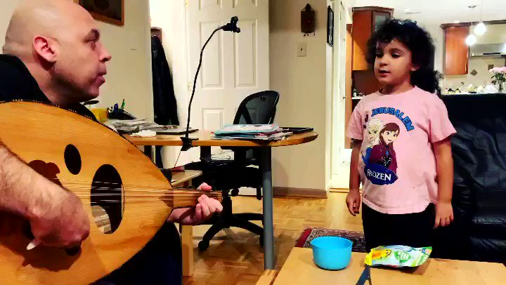 """They said the """"young would forget.""""   That's not really working out. Enjoy my 4-year-old niece Huda singing """"Mawtini"""" with some amateur accompaniment by me.   #FreePalestine #Mawtini"""