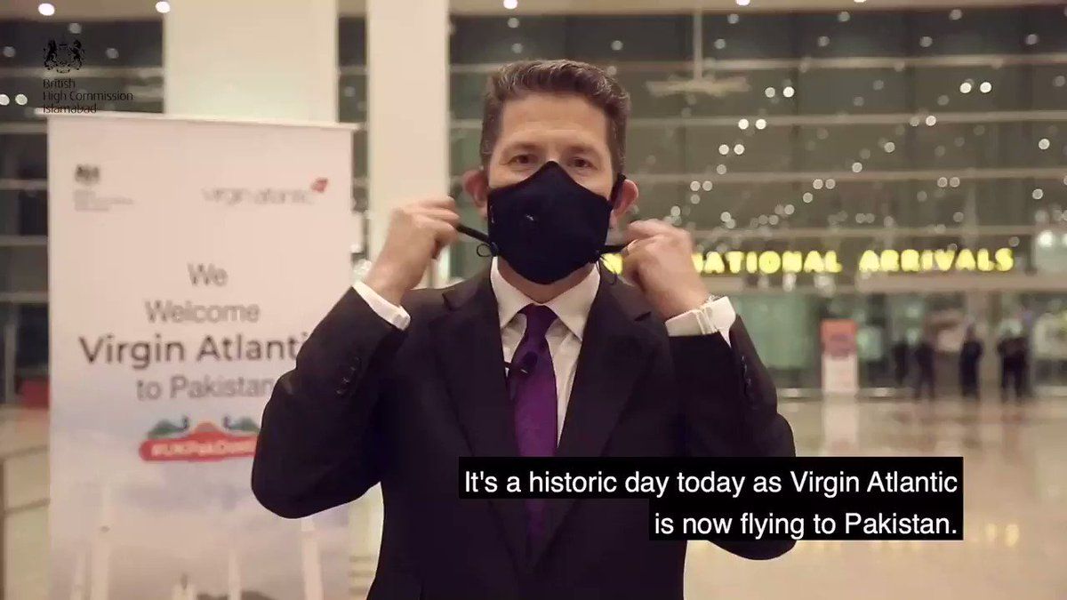 Khush Amdeed @virginatlantic to 🇵🇰 ! History made - another zabardast news for 🇬🇧& 🇵🇰  Delighted to join @richardbranson in the video message here!    🙌🏽 #UKPakDosti @sayedzbukhari